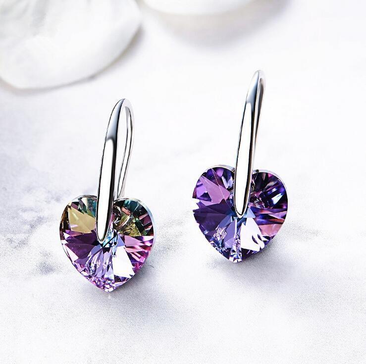 2019 pendientes de gancho corazón Nueva Azules Con genuino embellecido con cristales a partir de joyería Swarovski de múltiples colores opción al por mayor
