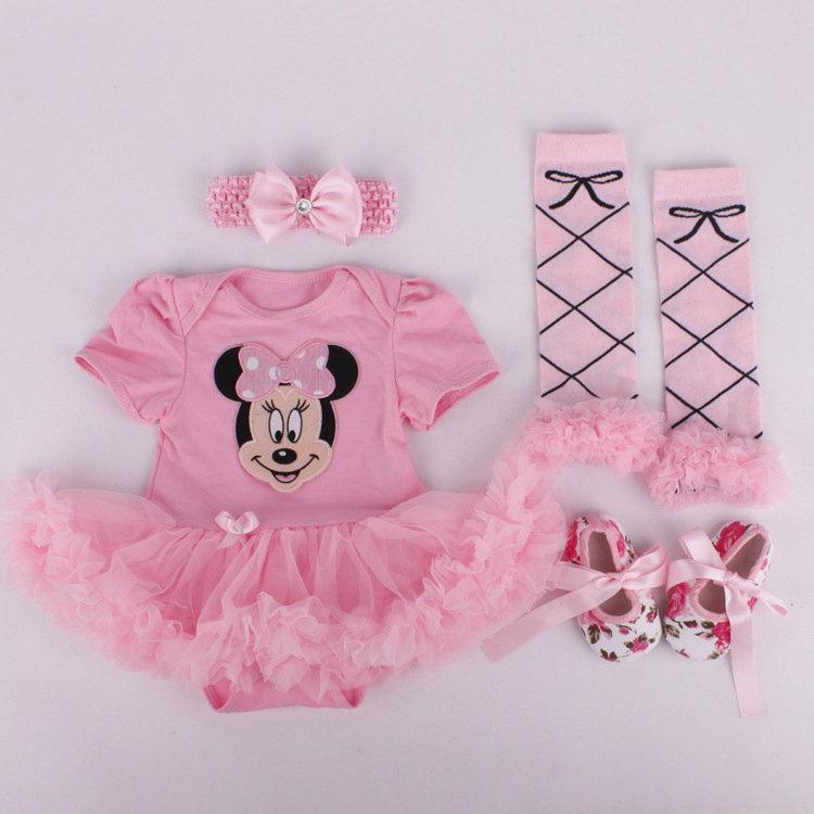 Bebê traje do bebê Meninas Meninos macacãozinho recém-nascidos Roupa Macacões vestido dos desenhos animados impresso Romper do bebê Saias Vestido Headband