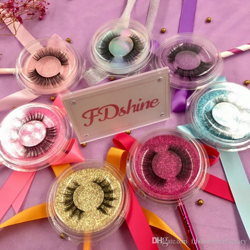 Toptan 3d lolipop kirpikler sahte vizon kirpik kirpik kutusu için ucuz fiyat özel logo çıkartmaları FDshine