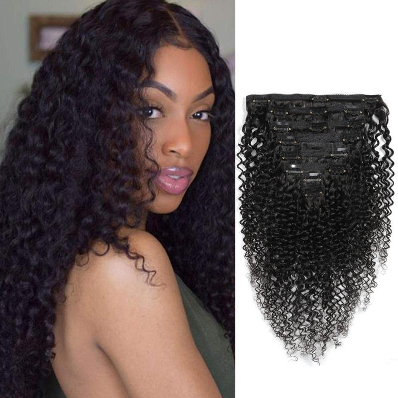 On Braizlian Kinky Kıvırcık 10A Saç Clip-in Uzantıları 120g Doğal Renk Kinky Curlys 8-22inch 8pcs / lot Klip