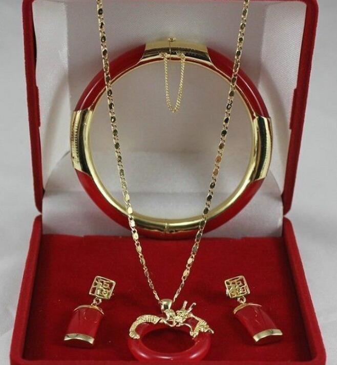 necklaceAT3 GDS433 Fine real 18KGP Zircon Bijoux à la mode% Nouveaux Bijoux Jade Cercle dragon Pendentif Collier Boucle D'oreille Bracelet