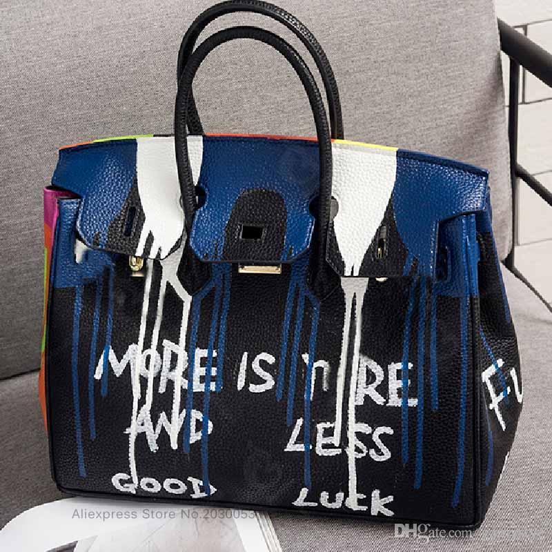 ART BAG HANDMAKE Femmes Sacs À Main En Cuir Véritable Main-Peinture Main Dessin Véritable Sacs À Main Designer Cowskin sacs à bandoulière de haute qualité