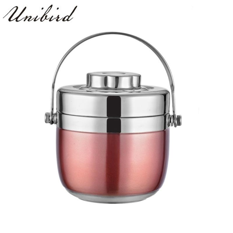Unibird Double Layer Portable Food Thermos Heated Lunch Box Thermo 1.5l Stainless Steel Vacuum Flasks School Food Container Y19070303