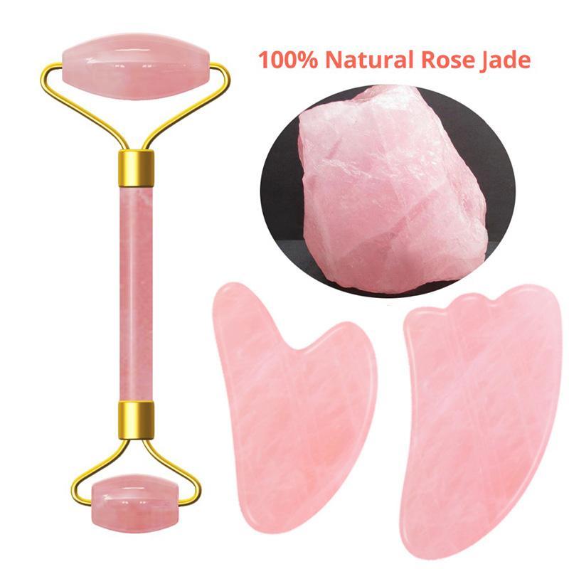 Розовый кристалл камень Джейд Roller Set Face Lift массаж роликовый массажер для похудения лица Природный камень кварца шеи Массаж Инструмент