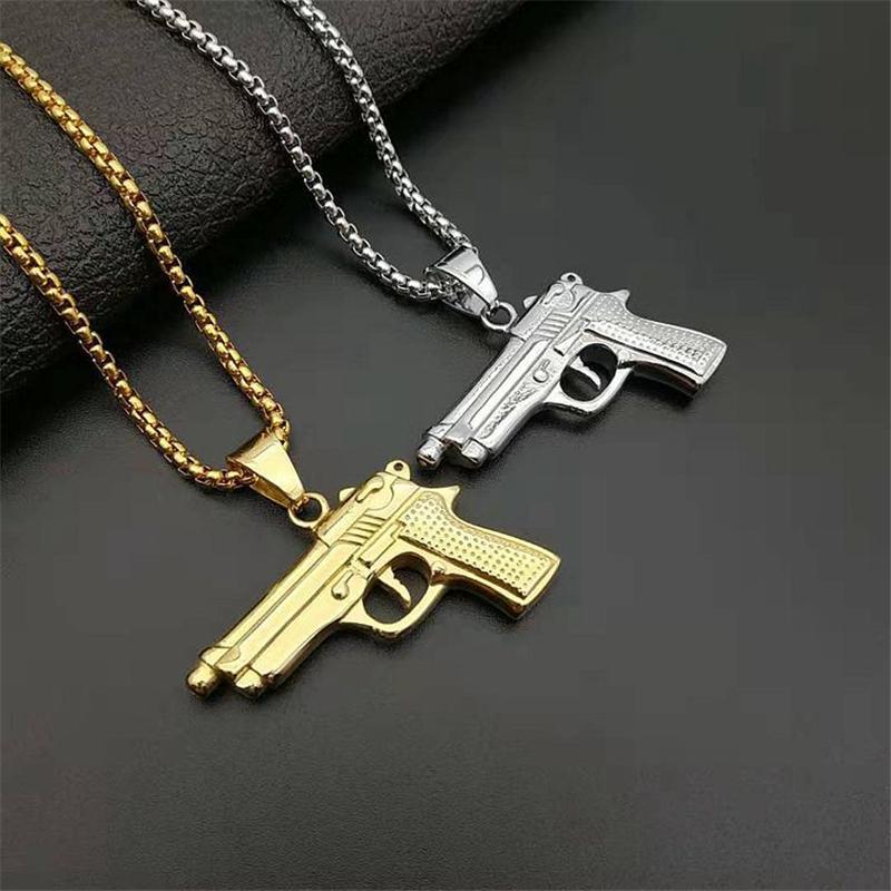 Aço inoxidável 316L jóia placa de identificação Colar Para Homens cor do ouro M1911 pistola pendant com Cubic Zirconia colares para as mulheres