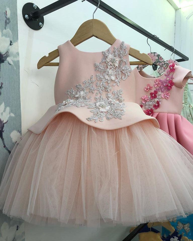Real Picture Baby Girl First Birthday Dress Lace Beads Knee Length Pink Tulle Kids Clothes Party Gowns