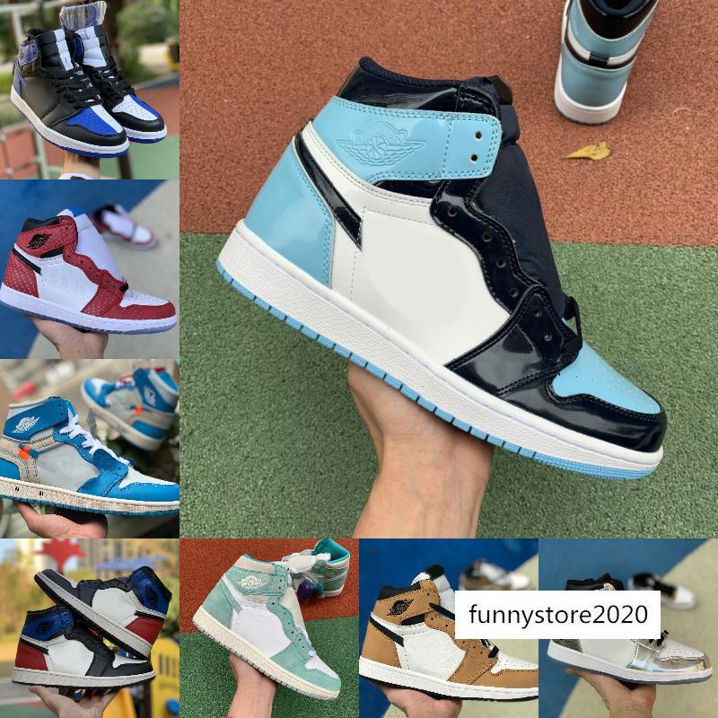 2019 Alta 1 OG Travis Scotts Hombres Baloncesto Turbo Verde Historia de Origen Gs NRG X Unión de Mujeres Retroes 1s Zapatos Blanco Azul Unc Deportes