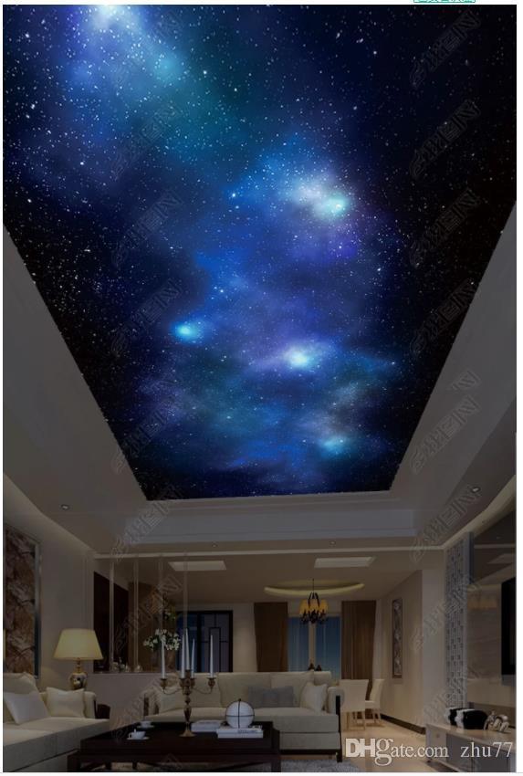 Personalizado Grande teto 3d papel de parede foto HD grande imagem céu estrelado quarto zenith teto mural adesivo de parede papel de parede