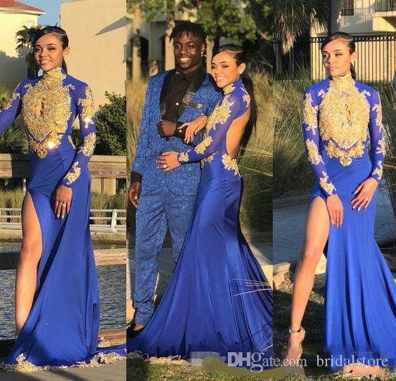 royal blue black girls prom dresses mermaid keyhole front gold lace long sleeves couple day dresses evening wear slits open back prom dress