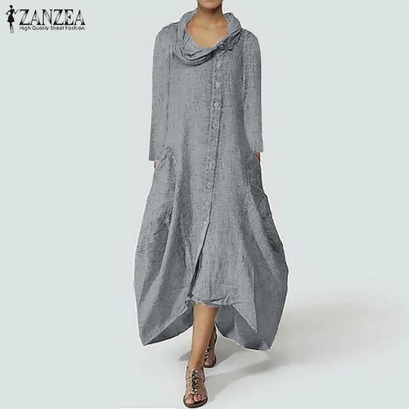 ZANZEA женское платье плюс размер платья водолазка макси платье 2019 осень с длинным рукавом Vestidos твердые нерегулярные подол пуговицы платья T200320