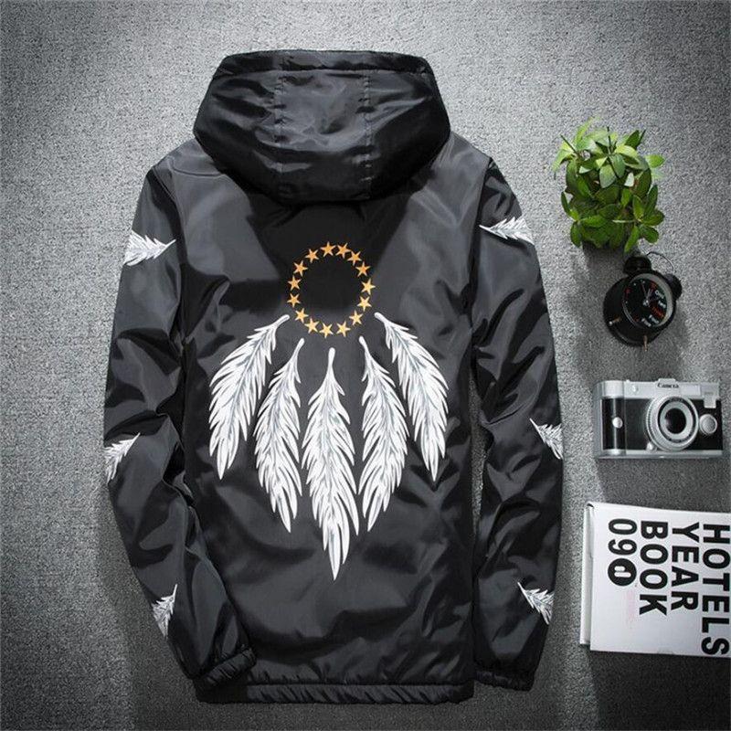 2020 nuevos hombres de la chaqueta con capucha Slim Fit delgada cazadora más el tamaño de impresión de la moda capa ocasional otoño al aire libre Streetwear