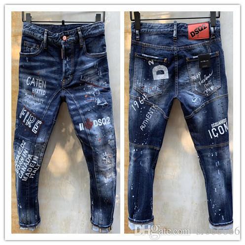 2020 nueva marca de pantalones vaqueros ocasionales de moda de los hombres europeos y americanos, el lavado de alto grado, moler a mano puro, optimización de la calidad LT98-1