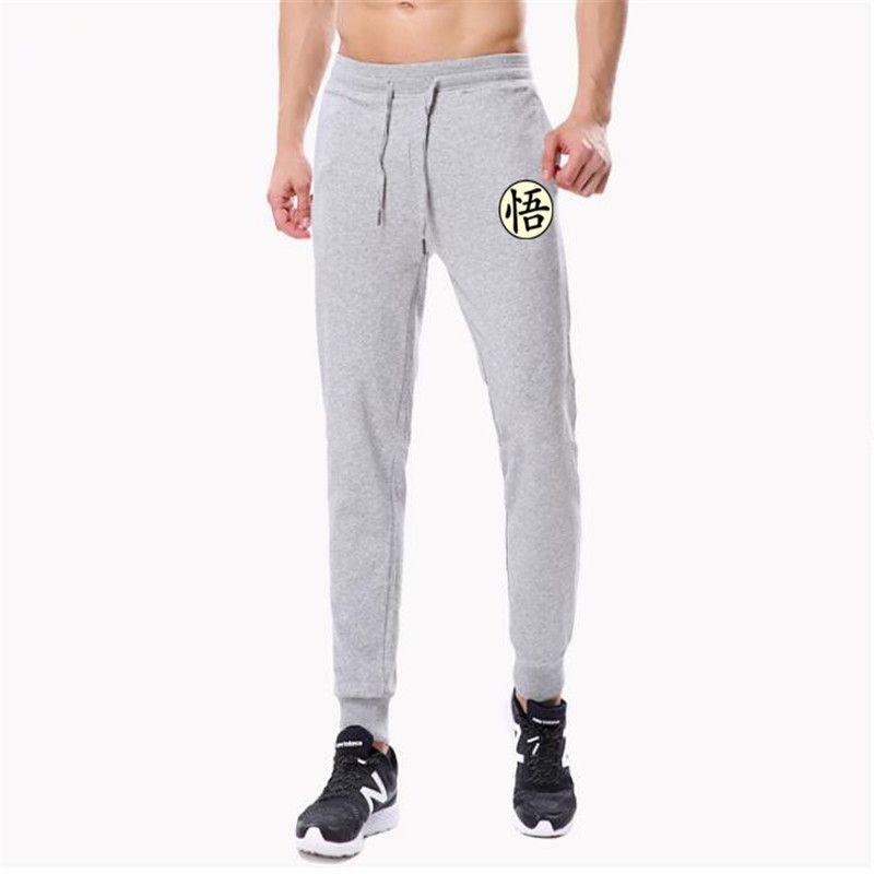 Gündelik Komik Goku Erkek Pantolon Pamuk Sonbahar Kış Gri Erkekler Koşucular Sweatpants Artı boyutu Siyah Pantolon Pantalon yazdır