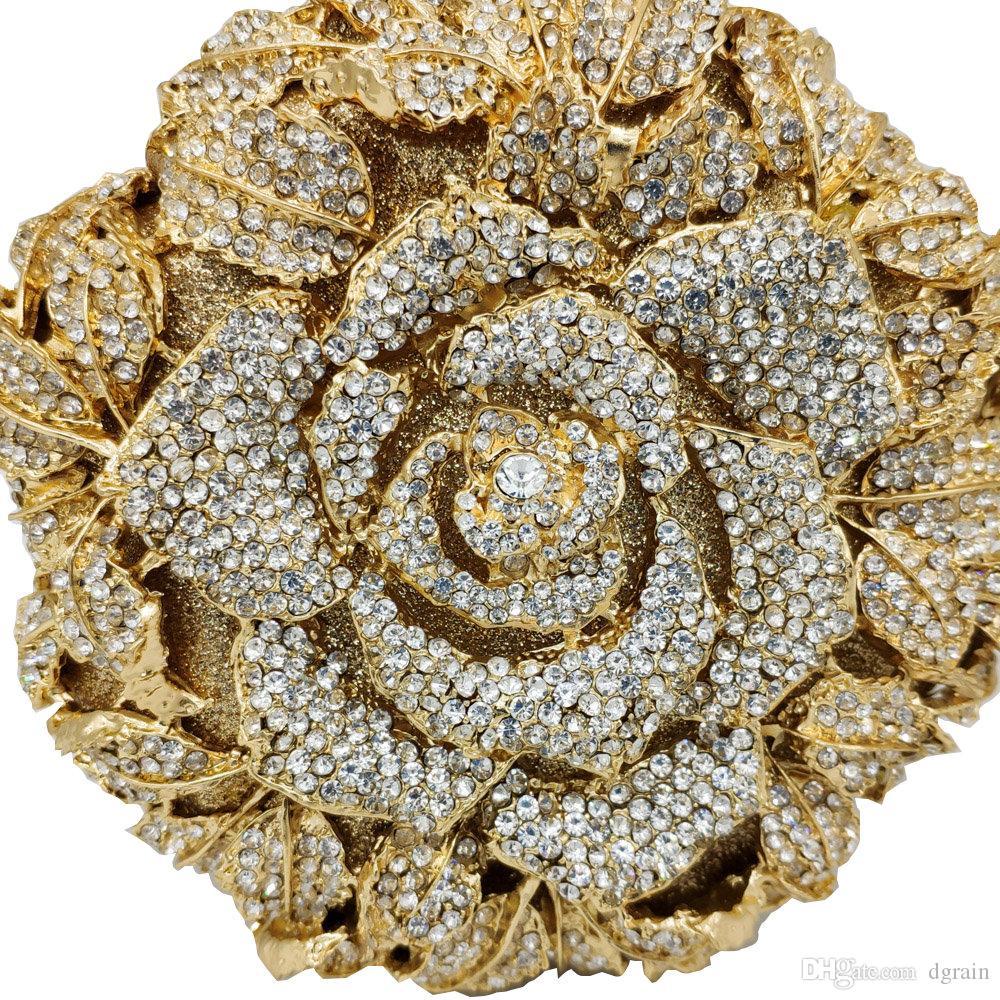 Dgrain Gold-Kreis Blume Rose Abendtasche mit Metall-Diamant-Dame-Abend-Handtasche-Partei-Kristallgeldbeutel-Abschlussball-Brautpartei-Handtaschen