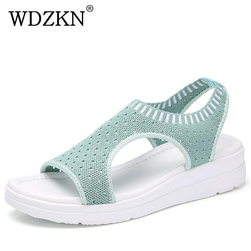 оптовые 2019 Сандалии женские летние туфли Peep Toe вскользь плоские сандалии женские дышащий Air Mesh женщин платформы сандалии Sandalias