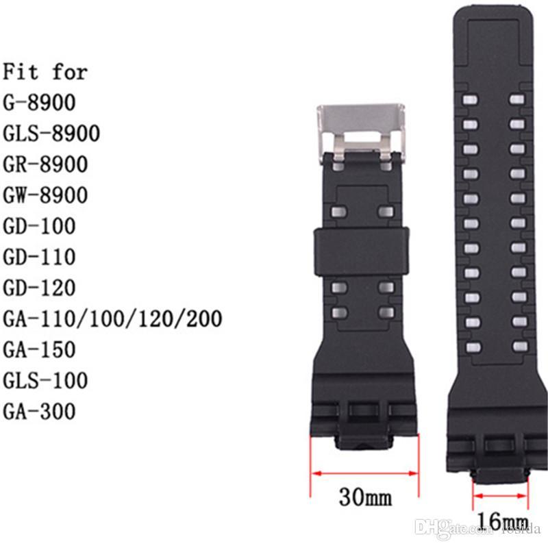 Esporte relógio de borracha Starp cores pretas disponíveis Adequado para GA100 GA200 GA120 150 Largura de banda de mesa 30 milímetros