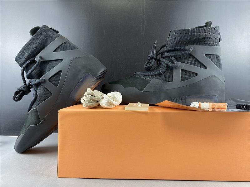 Com caixa mais novo Medo de Deus 1 Shoes FOG Botas Luz óssea Black Sail ocasional sapatos Men branco cinza preto ocasional sapatos Tamanho 7-13,5 AR4237-005