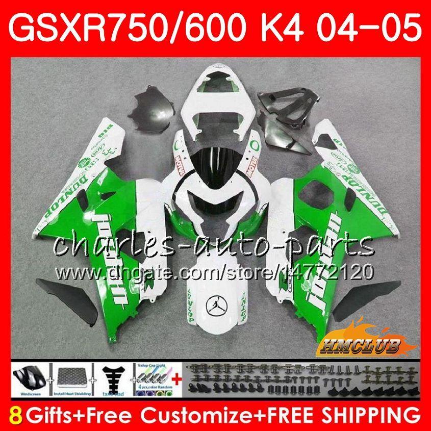 BODYS VOOR SUZUKI GSXR 750 GSX R600 R750 GROENE WITTE HOT GSXR600 2004 2005 7HC.69 GSXR 600 GSXR-750 04 05 GSX-R600 K4 GSXR750 04 05 VALERINGEN