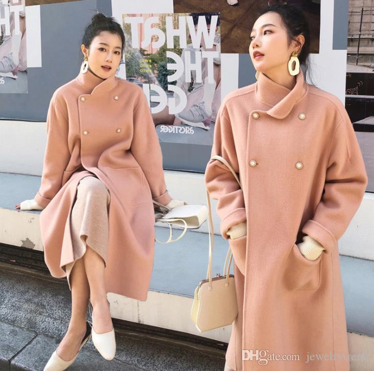 2019 Sonbahar Kış Kadın Palto Kruvaze Ceket kadın Dış Giyim Mont Orta Uzunlukta Lady Yün Karışımları Ceket C5093
