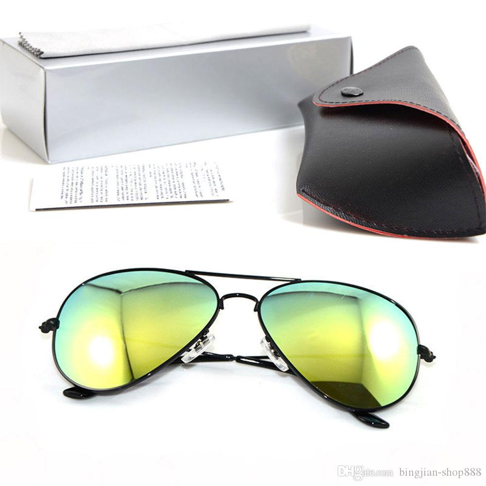 58mm and 62mm pilot sunglasses Brand Designer Mens Sunglasses Mirror sunglasses ray Womans glasses Color Glass Lens sun glasses With case