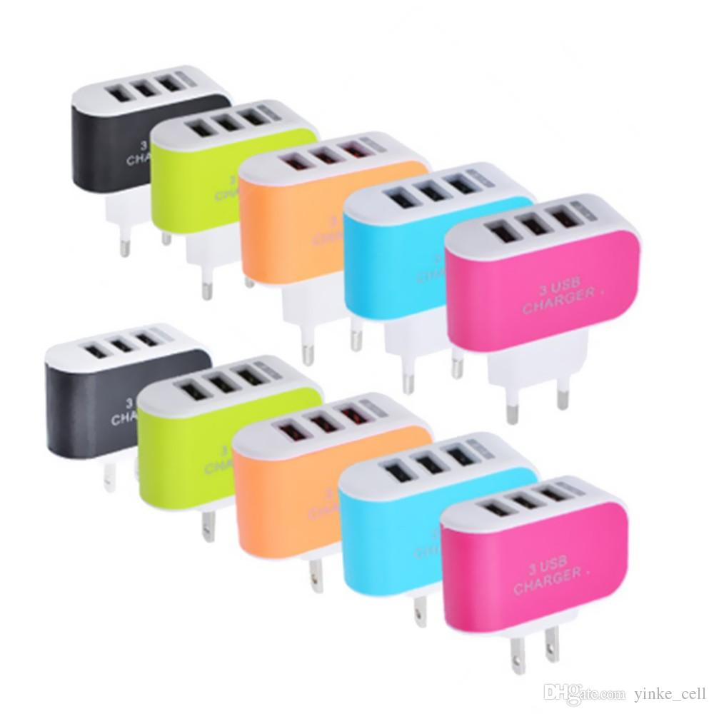 Universal EU US Plug Power Adapter Socket Fast Phone Wall Charger USB 3 Ports AC Converter Adaptor Travel Plugs for Smartphones MP3 Players