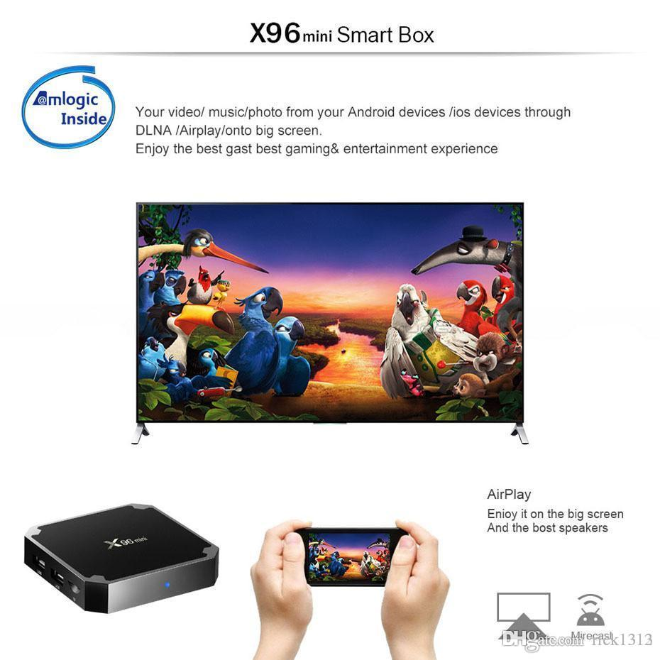 DHL X96 Mini Android 7.1 Amlogic S905W STB Tv Box 1GB + 8GB 2GB + 16GB EMMC  Flash KD KDplayer 17.6 4K Smart Android TV Box VS TX3 MXQ PRO Best Surround