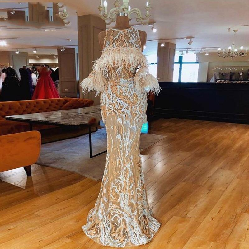 New Elegant Arabic Feather Evening Dress Long 2020 robe de soiree Lace Prom Dresses Islamic Dubai Women Formal Party Gown Custom Made