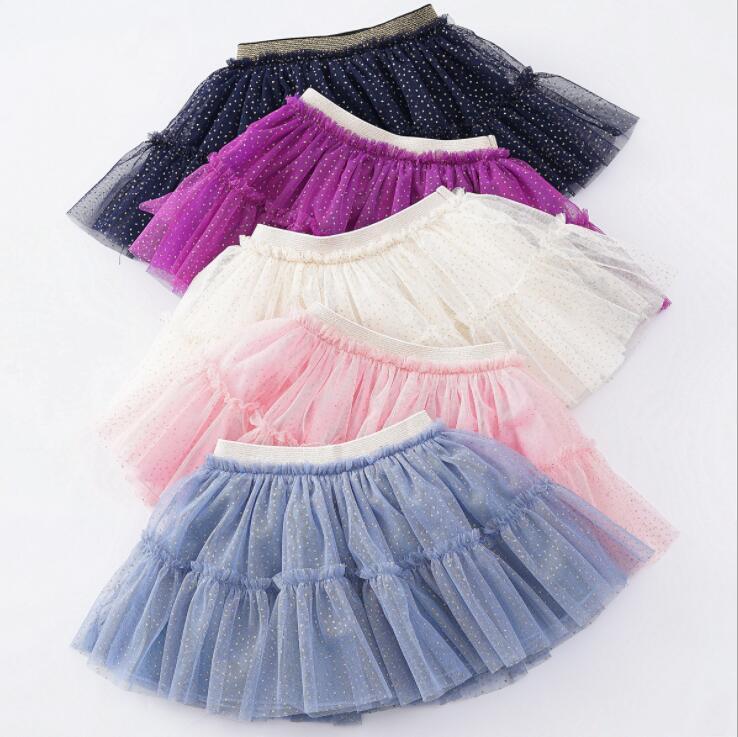 Filles Tutu Jupes Pettiskirt enfants en or Stamp Dot Tulle Jupe Costume Dancewear Princesse Jupes d'été Mini Robe Ballet Jupes plissées YP194