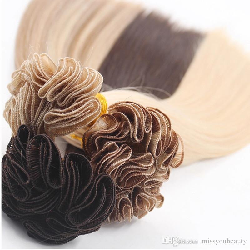 Handgebundene Haare-Schuss-seidiges gerades Haarverlängerungen handgemachte menschliches Haar webt braune blonde Farbe 100gram