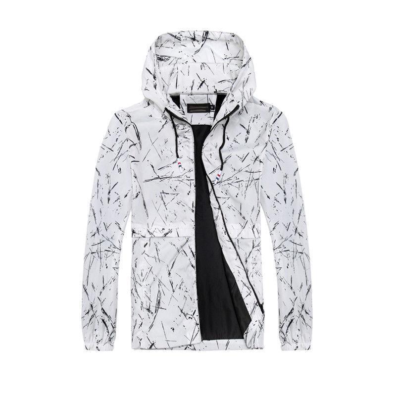 Men Waterproof Windbreaker Zipper Jackets Man Coats Lightweight Sportswear Style Outwear Coat Tops Male Hooded Jackets