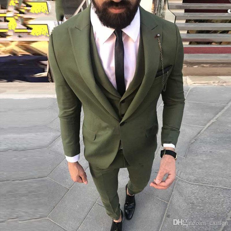 Custom Made Dark Green Wedding Tuxedos Men Suits for Groomsmen Suits Formal Business Wear 3 Piece Best Man Blazers Jacket Classic Pants Vest