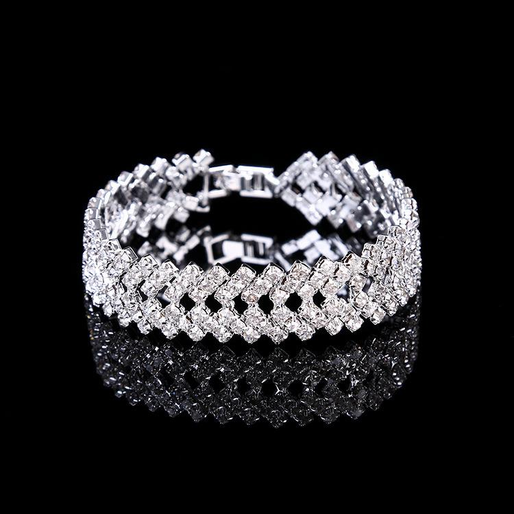 Gran Diamante plateado plata pulsera boda fiesta Bling