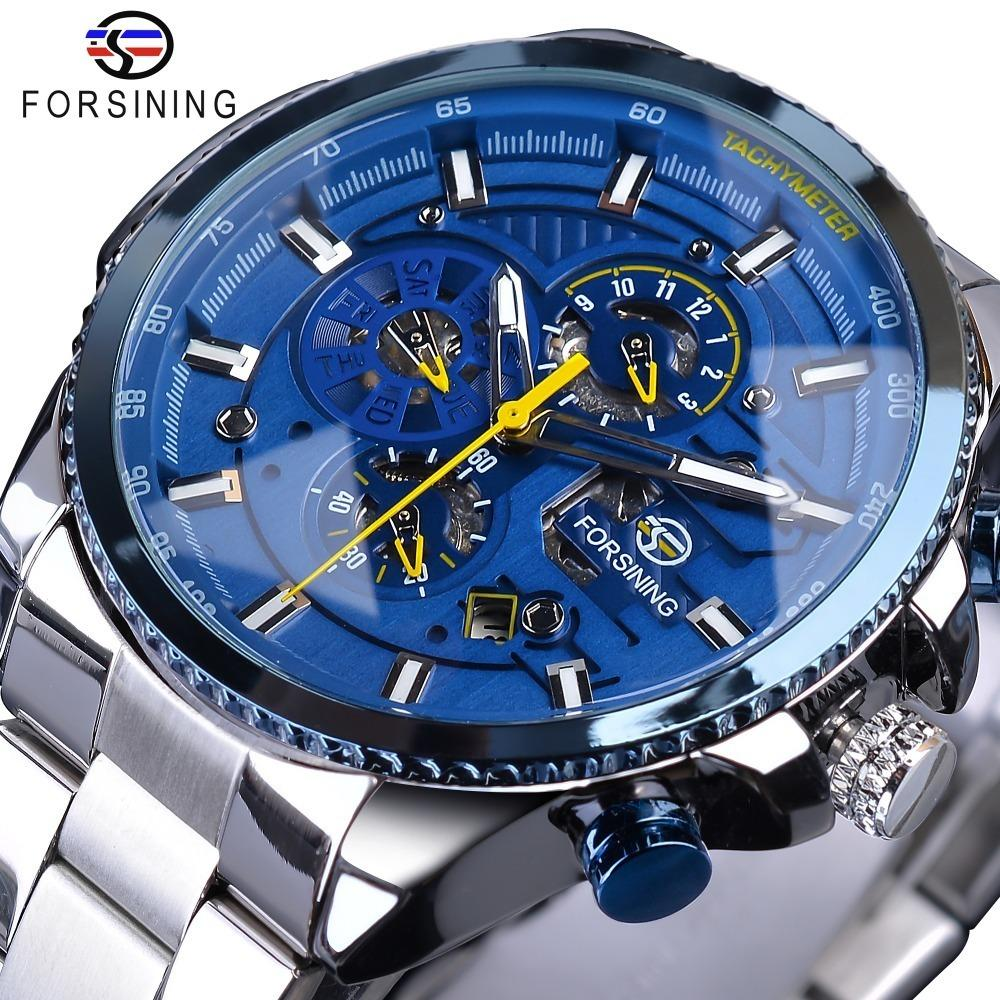 Forsining Mavi Okyanus Tasarım Gümüş Çelik 3 Dial Takvim Ekran Mens Otomatik Mekanik Spor Bilek Saatler Üst Marka Lüks J190706