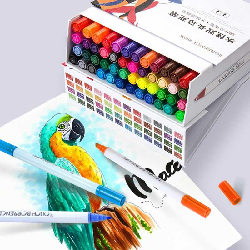 60 цветов художественные маркеры Pen Set Borrence Dual Headed Liquid-ink Sketch Brush Professional Indoor/Building/Design Painting Supplies