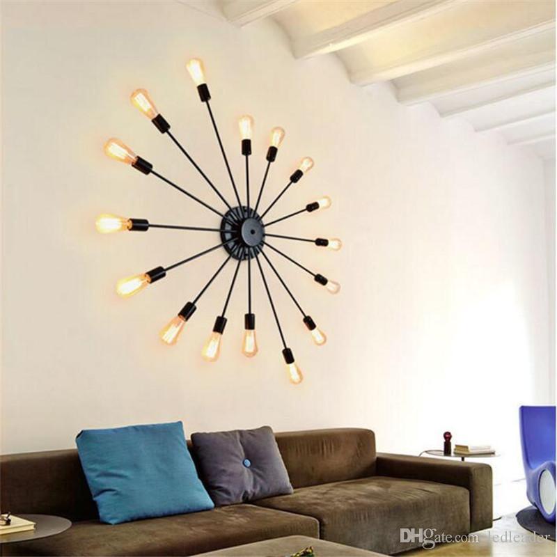 Retro Ferro levou lâmpada de teto personalidade criativa ferro forjado 16 Cabeças lâmpadas coffee shop quarto sala de estar lâmpada de parede AL52