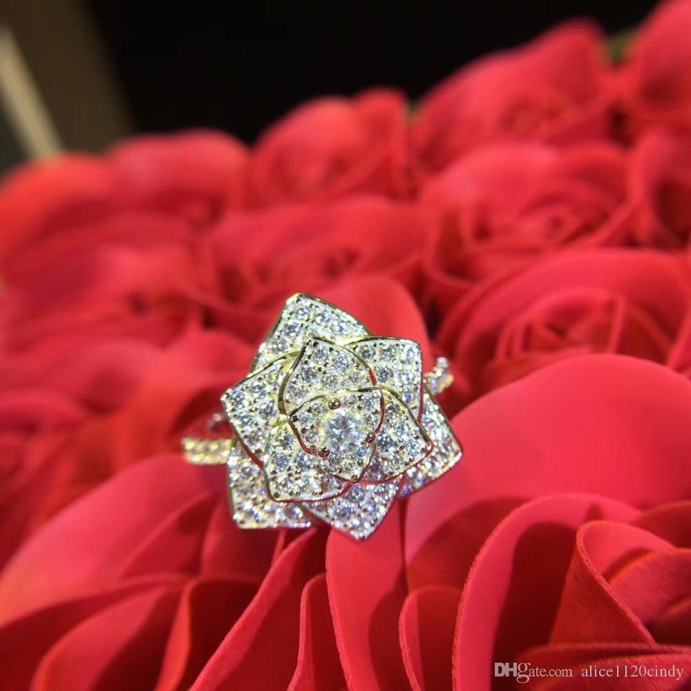 Mode 925 diamants en argent sterling romantique Camellia anneau mode CZ cristal fleur zircon anneau de mariage de fête d'anniversaire quotidien Bijoux