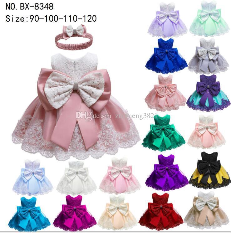 Neonate Newborn abito dei vestiti del nuovo del merletto di Bowknot senza maniche del vestito dalla ragazza di compleanno vestito infantile 2pcs di moda i bambini