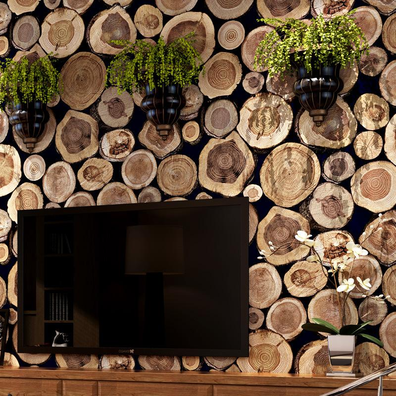 New Special wood grain stake wallpaper 3D large PVC mural wallpaper house cafe background loft industrial style