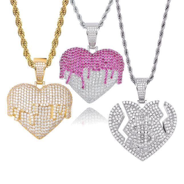 Yeni Moda 18K Altın Kalp Love kolye Hip Hop Tasarımcı Lüks Taşlı Takı Bijoux Akan Renkli Elmas ABD Doları Sign Bling