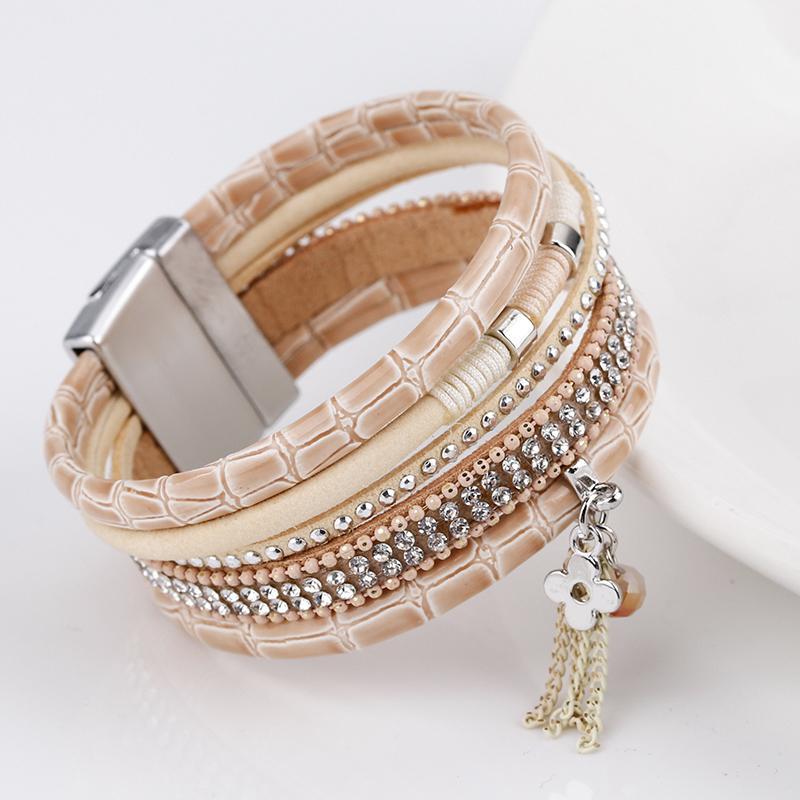 ALLYES Elegant Women Leather Bracelet Clover Flower Tassel Crystal Bohemian Multilayer Wide Wrap Bracelets & Bangles Jewelry