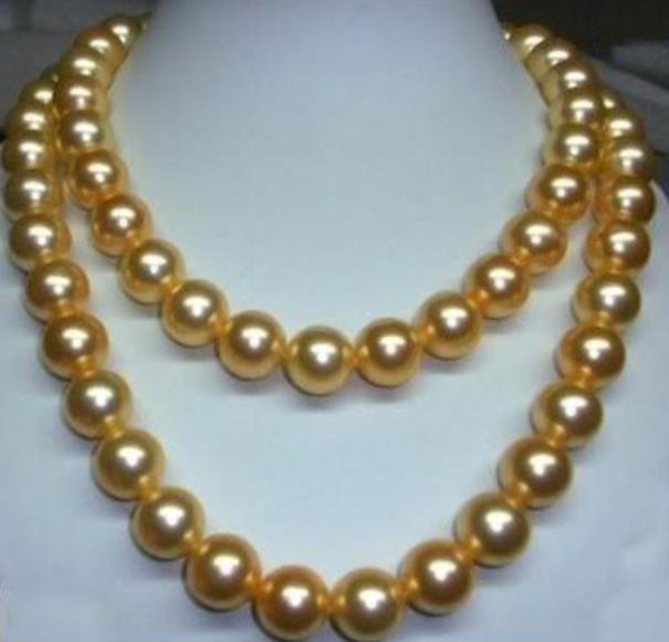 35-Zoll-Perlenketten 9-10mm Südsee Golden Pearl Halskette 14K Gold Schließe