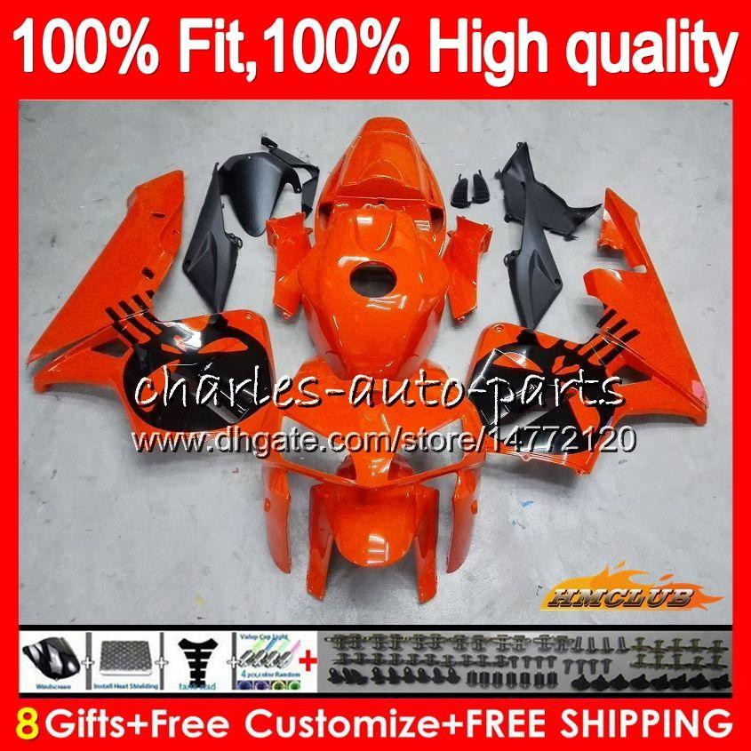 100%Fit Injection For HONDA CBR 600RR 600F5 CBR 600 RR F5 05 06 80HC.19 Skull orange CBR600F5 CBR600 RR CBR600RR 2005 2006 05 06 OEM Fairing