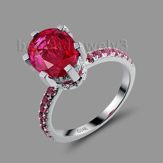 Oval 8x10mm Red Ruby Ring Solid 14kt oro blanco para mujer anillo de bodas Sr00150h Y19052301