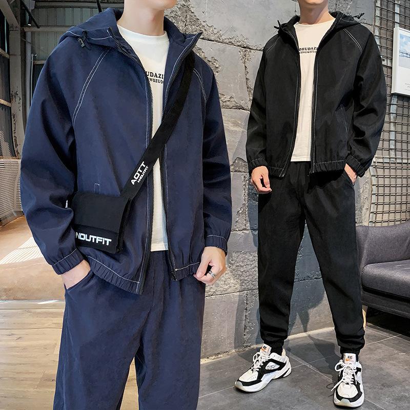 Pantalón de la capa con capucha sudaderas con capucha de los nuevos hombres 2 Piezas chaqueta con capucha de pantalón largo flojo Vestimenta Negro Verde Azul H1