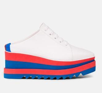 Лучшие моды Высокая платформа Повседневная обувь женщина из натуральной кожи шнурка вскользь толстым дном обуви Круглый Toe Полосатый Bottom обувь 208