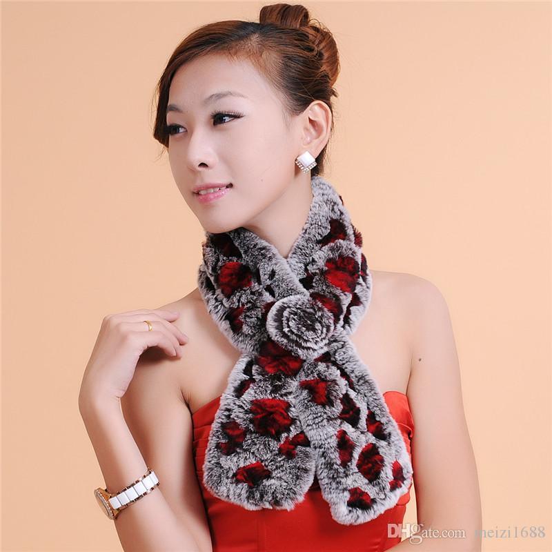 Высокое качество меховой шарф женская мода роскошный переплетения шарф женщины зима теплая 100% мех бесплатная доставка