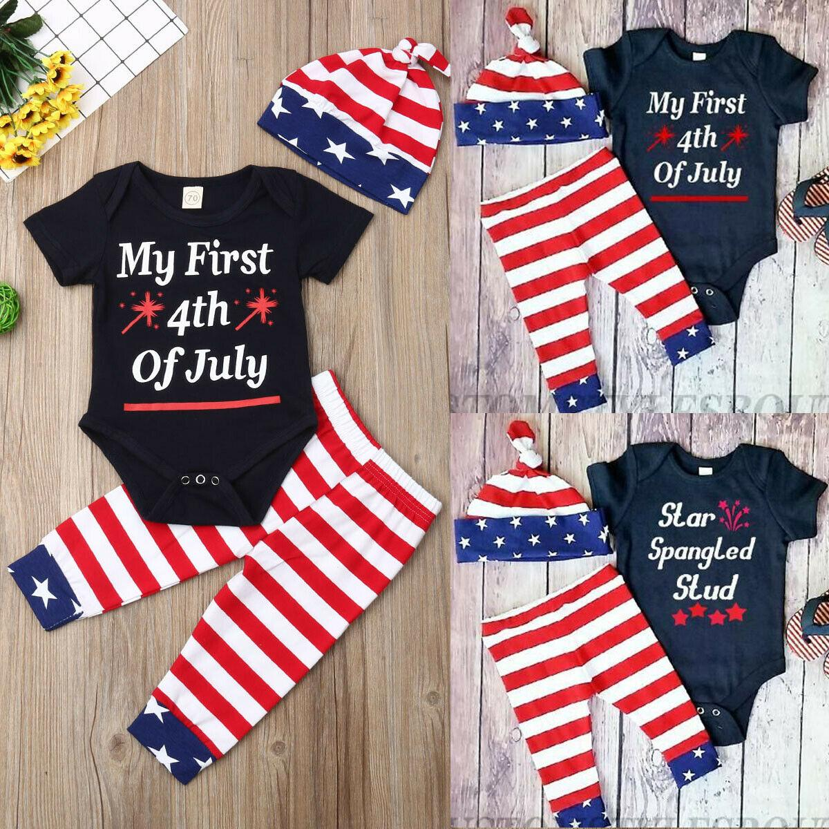 Newborn Baby Kids Girl Boy 4th Of July Striped Stars Top+Pants Hat Outfits Set