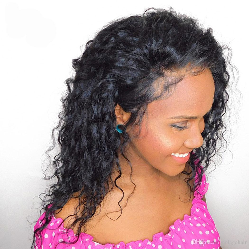 """Full Lace Human Hair Wigs 360 Lace Wigs Brazilian Curly Human Hair Wigs 10-20"""" Pre-plucked Natural Hairline"""