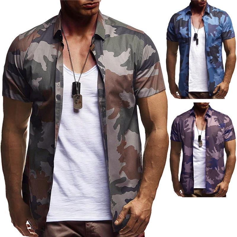 HuLooXuJi Männer Art und Weise Tarnung Hemd Sommer-Kurzschluss-Hülsen-beiläufige Hemden Slim Fit Luxuxmann atmungsaktive Soft Tops