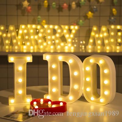 (26) 영어 편지 자리 숫자 LED 밤 빛 LED 기호 모델링 웨딩 밤 생일 제안 조명 조명 램프
